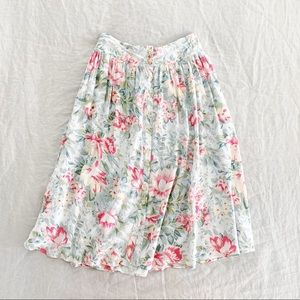 UO Ecote pink floral midi button down skirt